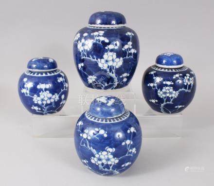 FOUR VARIOUS 19TH CENTURY AND EARLY 20TH CENTURY BLUE AND WHITE GINGER JARS AND COVERS, with