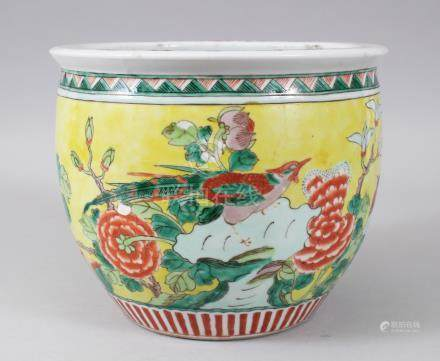 A 19TH CENTURY CHINESE FAMILLE VERTE AND JEUNE JARDINIERE, painted with flowers. 23cms diameter.