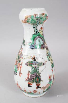 A GOOD 18TH-19TH CENTURY CHINESE VASE, painted with warriors, one with a bow, one with a drum.