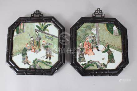 A GOOD PAIR OF LATE 18TH-EARLY 19TH CENTURY CHINESE OCTAGONAL PORCELAIN PANELS, interior with