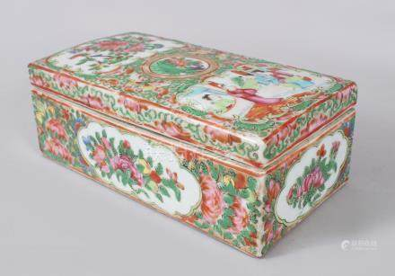 A GOOD CANTON CHINESE RECTANGULAR BOX AND COVER, painted with panels of figures and flowers. 18cms