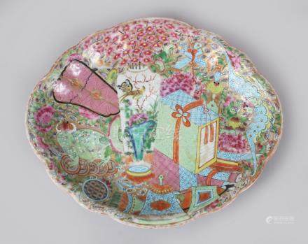 A GOOD CANTON CHINESE SHAPED OVAL DISH, painted with birds and flowers. 26cms long.