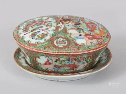 A GOOD CANTON CHINESE OVAL BOX, COVER AND STAND, painted with panels of figures and birds. 14cms
