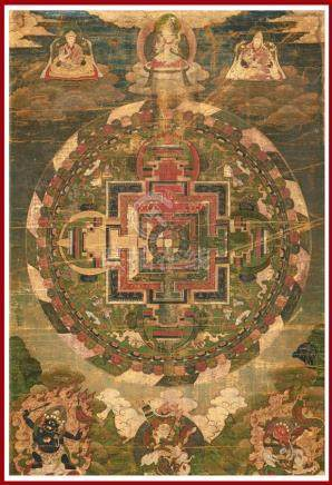 THANGKA / TANGKA A LA DETREMPE SUR TISSU Tibet ou sino-tibétain, Epoque XVIIIe-