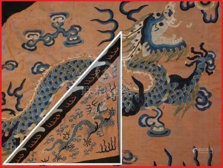 BANNIERE / DRAPEAU / ORIFLAMME MANDCHOU(E) EN SATIN DE SOIE BRODE Chine, Dynast