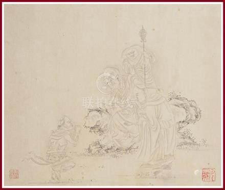 ECOLE CHINOISE D'APRES DING YUNPENG / 丁云鹏 / 丁雲鵬 (1547-c.1628) Lohan tenant audi