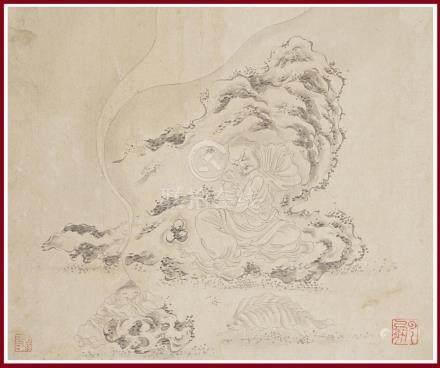 ECOLE CHINOISE D'APRES DING YUNPENG / 丁云鹏 / 丁雲鵬 (1547-c.1628) Lohan sis sur un