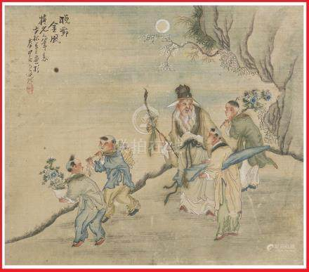 ECOLE DE SHANGHAÏ (Actif fin de la Dynastie Qing, vers 1880-1900) Immortel taoï