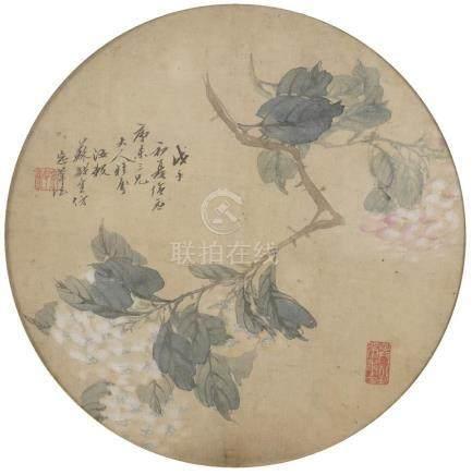ECOLE CHINOISE (Active XIXe-XXe siècle) Branche noueuse de camélia blanc et ros