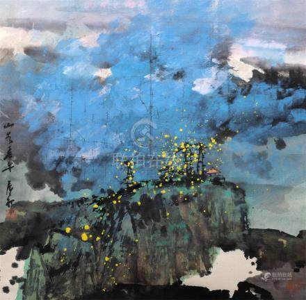 BAO Chenchu 包辰初 (1928-) Paysage au pavillon / Abtraction lyrique Encre et coule