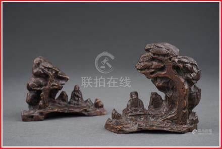 PAIRE DE REPOSE-PINCEAUX EN BAMBOU AUX SAGES TAOISTES ASSIS SOUS DES PINS Chine