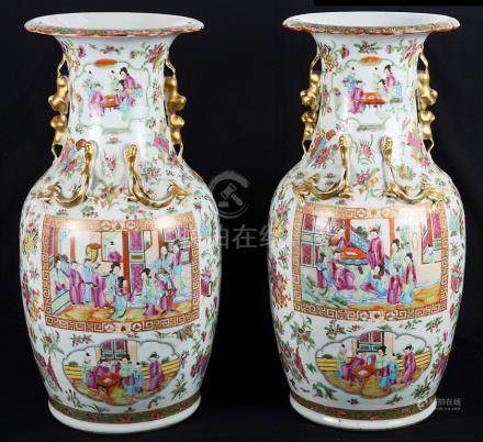 A pair of Canton famille rose vases 19th century Vividly decorated with medallions of ladies and