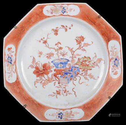 A Chinese iron-red and underglaze-blue octagonal charger 18th century Finely decorated with peonies