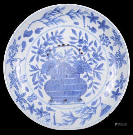 A Chinese blue and white plate 16th /17th century, Wanli mark & period.