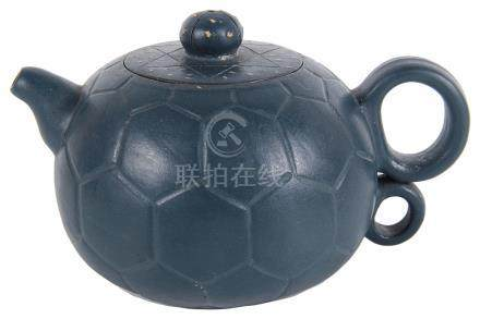 A small Chinese Yixing teapot 20th century Of a deep greenish grey colour,