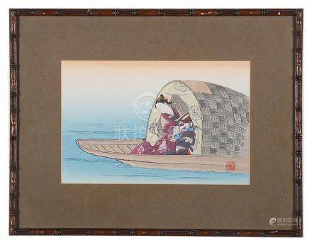 A collection of Japanese prints Taisho period To include: three framed small prints representing