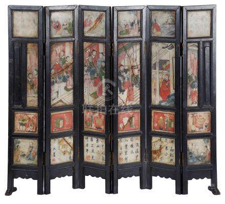 A Chinese 6-fold table screen 18th century Richly embellished with painted soapstone panels