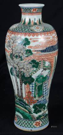 A Chinese famille verte vase 18th century The slender meiping-shaped body finely decorated with a