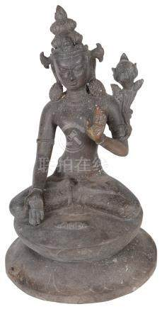 A Himalayan bronze figure 19th century Modelled as Avalokiteshvara sitting on a double lotus base