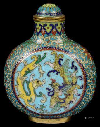 A Chinese cloisonné snuff bottle with stopper 18th century Decorated with two medallions of