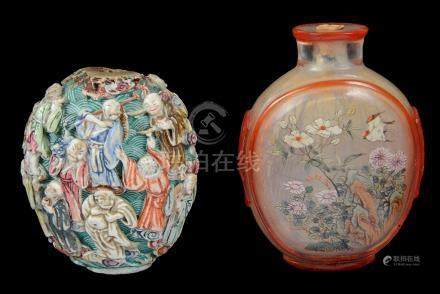 Two Chinese snuff bottles 18th century To include: a painted glass snuff bottle with delicate bird