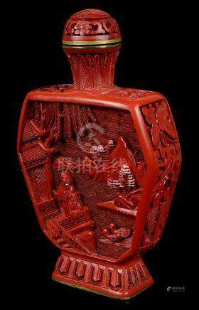 A Chinese lacquered snuff bottle with stoppers 18th century Carved with figures in landscapes and