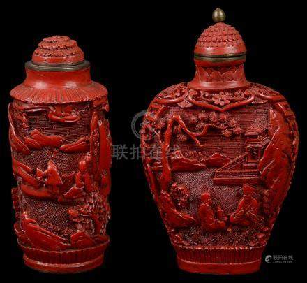 Two Chinese lacquered snuff bottles 18th-19th century Both carved with figures in landscapes. H 6.