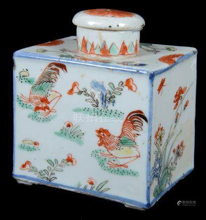 A small Chinese famille verte tea caddy with lid 18th century Decorated with hen and rooster among