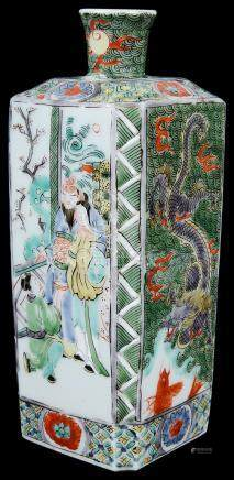 A small Chinese famille verte square vase Late 19th/early 20th century Decorated with two