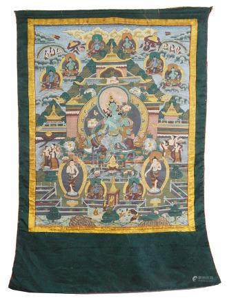 A Tibetan thangka painting 19th century In distemper on cloth,
