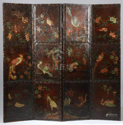 A continental leather four fold screen, painted with oriental scenes of birds amidst trees,