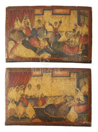 A pair of 19th century Qajar lacquer book covers, polychrome decorated with groups of young women