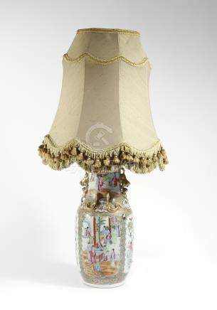 A 19th century Chinese Canton porcelain vase table lamp, decorated in the famille rose palette