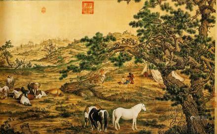 Lang Shining 1688-1766 Chinese Print Horse Scroll