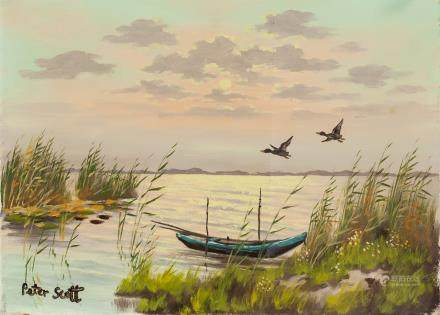 Peter Scott British Impressionist Oil on Canvas