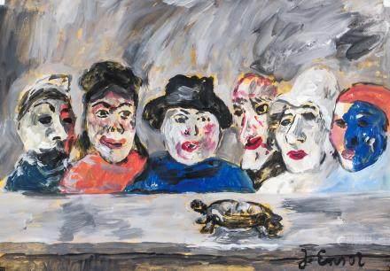 James Ensor Belgian Modernist Gouache on Paper