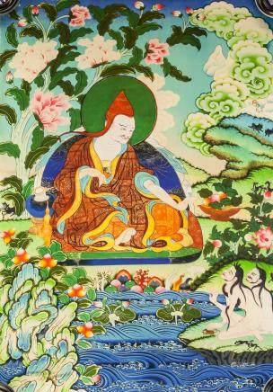 Chinese Print Guru Tangka on Fabric