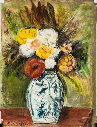 Gino Brogi XX Italian Oil on Paper Still Flowers