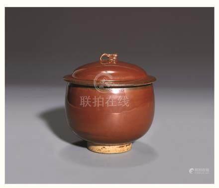 宋磁州窑紫金釉盖罐