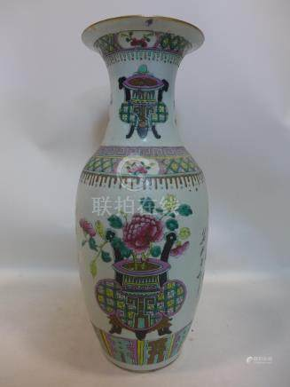 A 19th century large Chinese porcelain vase hand-enamelled in the famille rose palette, H: 58cm