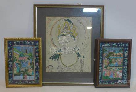 Two Persian paintings together with a Buddhist painting