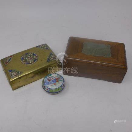 A 19th century Chinese hardwood box inset with period jade plaque, H.7 W.16 D.10cm, together with