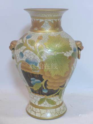 A Chinese vase with gold leaf design and character marks to base, H.39cm