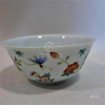 A 19th century Chinese porcelain bowl, decorated with insects and flowers, interior decorated with