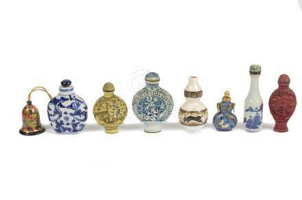 A collection of Chinese scent and snuff bottles, including reverse painted glass, porcelain and