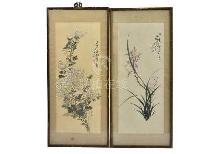 Early 20th Century Vietnamese School pair of watercolours on silk, 'Studies of Flowers', each with
