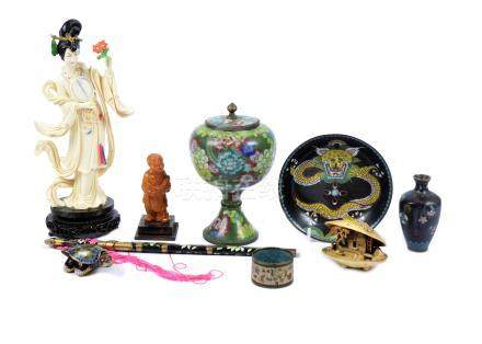 A selection of oriental cloisonne, plates, pots, vases, napkin rings and bowls, together with