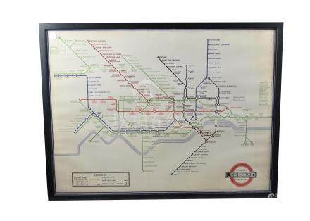 A reproduction print of a 1936 London underground map, framed, 79 cm x 59 cm