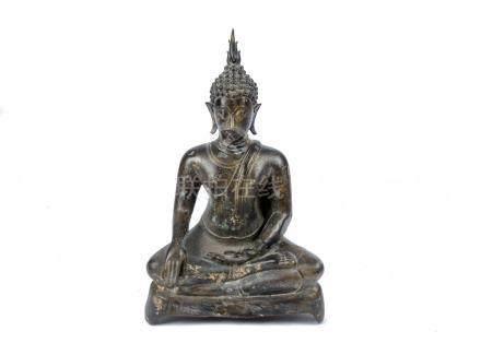 A 14th Century bronze Sukothai-style figure of Buddha, seated in dhyanasana, hands in bhumisparsa