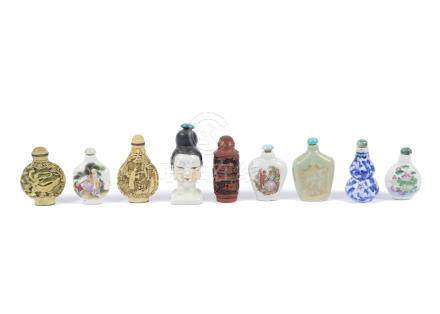 A collection of Chinese snuff and scent bottles, ceramic and resin examples with painted and
